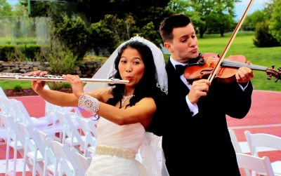 Bride and Groom with instruments