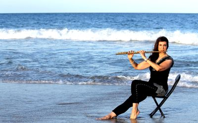 Flutist Michele of Bridal Music performing at a Beach Wedding Ceremony in Long Beach Island.